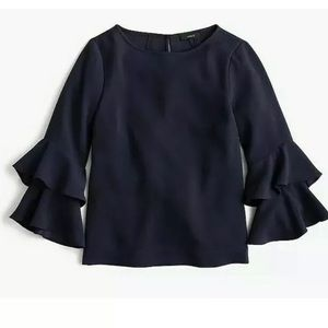 J. Crew Tiered Bell-Sleeve Drapery Crepe Top 2